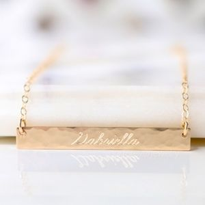 Jewelry - 14K Gold Filled Texture Engraved Name Bar Necklace